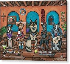 Fiesta Dogs Acrylic Print by Victoria De Almeida