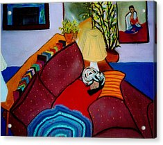 Fifi On Shari's Head Acrylic Print by Eliezer Sobel