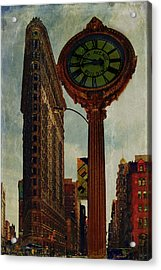 Fifth Avenue Clock And The Flatiron Building Acrylic Print by Chris Lord