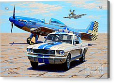 Fighter And Shelby Mustangs Acrylic Print by Frank Dalton