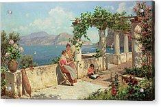 Figures On A Terrace In Capri  Acrylic Print by Robert Alott