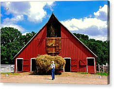 Filling The Haymow Acrylic Print by Lyle  Huisken