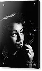 Film Noir Smoking Woman Acrylic Print by Amanda Elwell