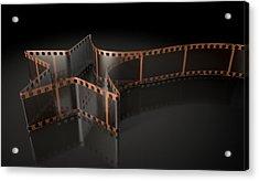 Film Strip Shooting Star Curled Acrylic Print by Allan Swart