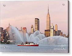 Fire Boat And Manhattan Skyline I Acrylic Print by Clarence Holmes
