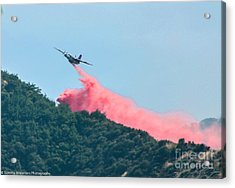 Fire Bomber Drop Acrylic Print by Tommy Anderson