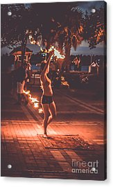 Fire Girl Acrylic Print by Claudia M Photography