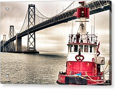 Fireboat And Bay Bridge Hdr Acrylic Print by Jarrod Erbe