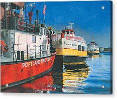 Fireboat And Ferries Acrylic Print by Dominic White