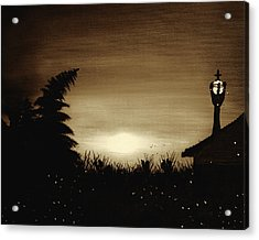 Firefly Frenzy - Sepia Acrylic Print by Claude Beaulac