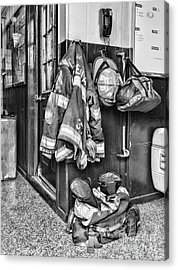 Fireman - Always Ready - Black And White Acrylic Print by Paul Ward
