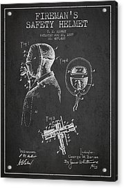 Firemans Safety Helmet Patent From 1889 - Dark Acrylic Print by Aged Pixel