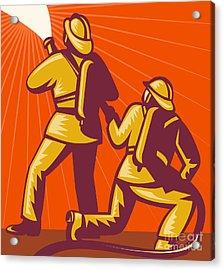 Firemen Aiming A Fire Hose Acrylic Print by Aloysius Patrimonio