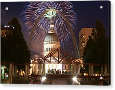 Fireworks At The Arch 1 Acrylic Print by Marty Koch