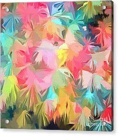 Fireworks Floral Abstract Square Acrylic Print by Edward Fielding