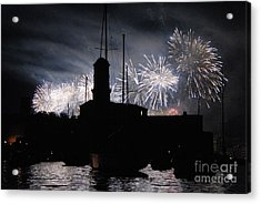 Fireworks Over Marseille's Vieux-port On July 14th Bastille Day Acrylic Print by Sami Sarkis