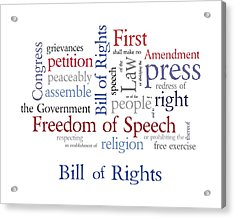 First Amendment - Bill Of Rights Acrylic Print by Antique Images