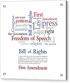 First Amendment Freedom Of Speech Acrylic Print by Antique Images