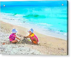First Sand Castle Acrylic Print by Susan Molnar