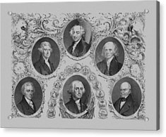 First Six U.s. Presidents Acrylic Print by War Is Hell Store