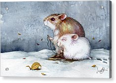 First Snow Acrylic Print by Janet Chui