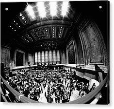Fish-eye View Of The Trading Floor Acrylic Print by Everett