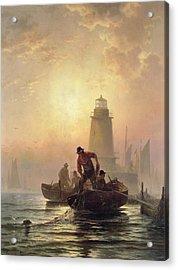 Fish Pond, Orient Bay, Long Island Acrylic Print by Edward Moran