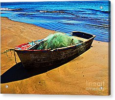 Fisher Boat By Michael Fitzpatrick Acrylic Print by Mexicolors Art Photography
