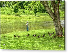 Fisherman Lazy Day At The Lake Acrylic Print by Randy Steele