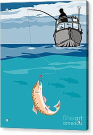 Fisherman On Boat Trout  Acrylic Print by Aloysius Patrimonio
