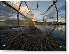 Fisherman On Inle Lake Acrylic Print by Mark Prior