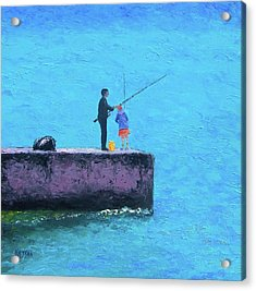 Fishing From The Pier Acrylic Print by Jan Matson