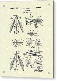Fishing Lure 1926 Patent Art  Acrylic Print by Prior Art Design