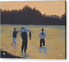 Fishing On The Fraser Acrylic Print by Melodie Douglas