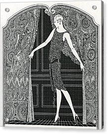 Flapper Opening A Curtain Acrylic Print by American School