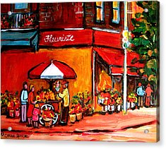 Fleuriste Bernard Florist Montreal Acrylic Print by Carole Spandau
