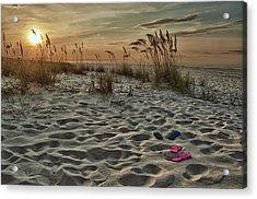 Flipflops On The Beach Acrylic Print by Michael Thomas