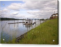 Floating House On The Columbia River Oregon. Acrylic Print by Gino Rigucci