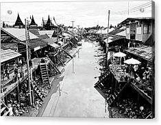 Floating Market In Thailand Acrylic Print by Sarayut Mathavetchathum