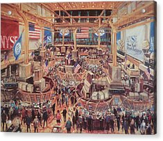 Floor Of The Nyse Acrylic Print by Kamil Kubik