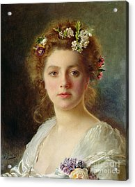 Flora Acrylic Print by Gustave Jacquet