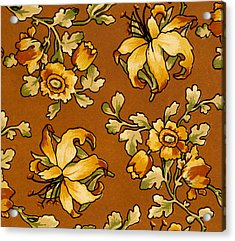 Floral Textile Design Acrylic Print by English School
