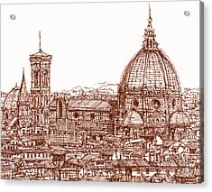 Florence Duomo In Red Acrylic Print by Adendorff Design