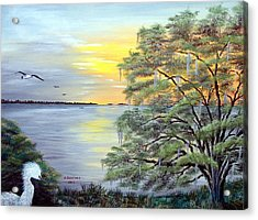 Florida Bay Sunrise Acrylic Print by Riley Geddings