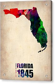 Florida Watercolor Map Acrylic Print by Naxart Studio