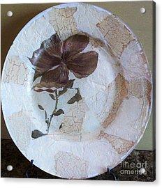 Flower Decopage Plate Acrylic Print by Marsha Heiken