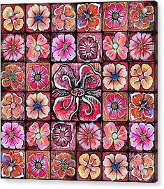 Flower Montage Acrylic Print by Shadia Zayed