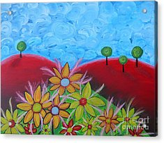 Flower On Red Hill Acrylic Print by Claudia Tuli