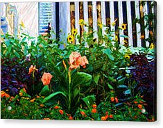 Flowers At The Fountain Of The Plaza Hotel Acrylic Print by Randy Aveille