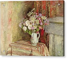 Flowers In A Vase Acrylic Print by Edouard Vuillard